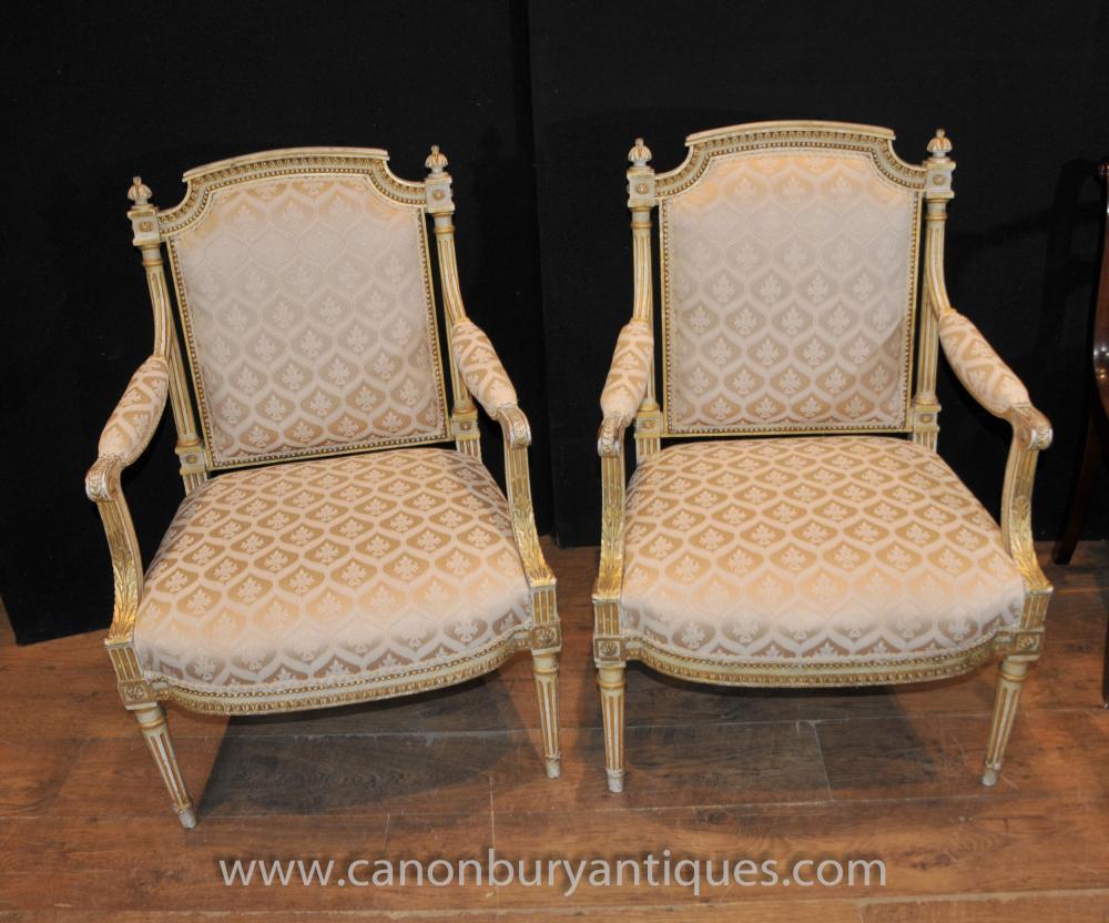 Pair Painted Französisch Reich Sesseln Fauteils Painted Chair