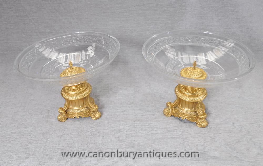 Pair Reich Kristallglas Gerichte verhält Ormolu Französisch Terrine