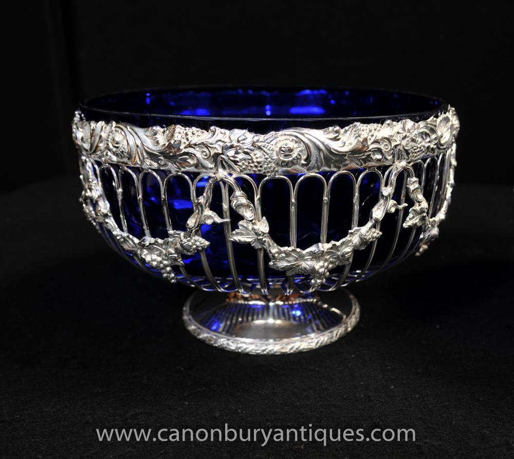 Pair Victorian Cut Glass silberne Platten-Schüsseln Suppenschüssel Urnen Ters