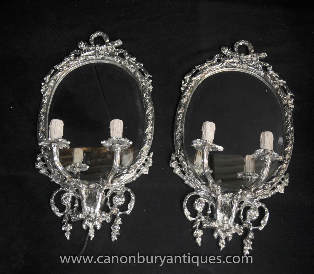 Pair Victorian silberne Platten-Girandolen Candelabra Spiegel Spiegel