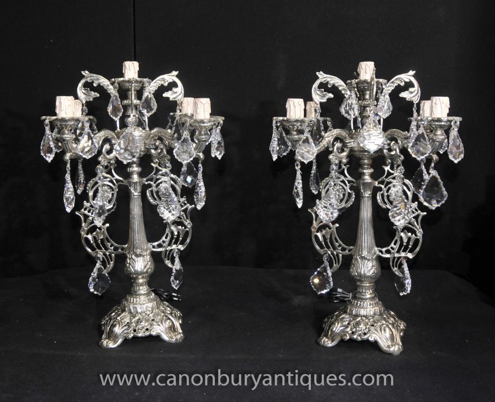 Pair Victorian silberne Platten Kerzenleuchter Tischleuchten Kronleuchter Licht