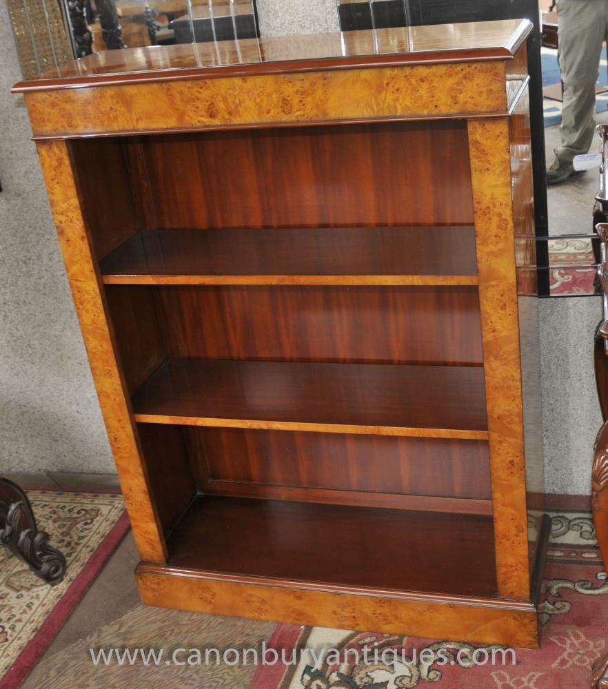 Regency vorne offen Bücherschrank in Nussbaum Bücherregale
