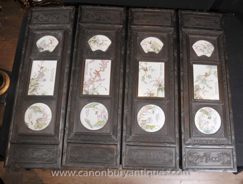 Set 4 Hand geschnitzte Porzellan chinesischen Plaques Screens Paintings Oriental Art