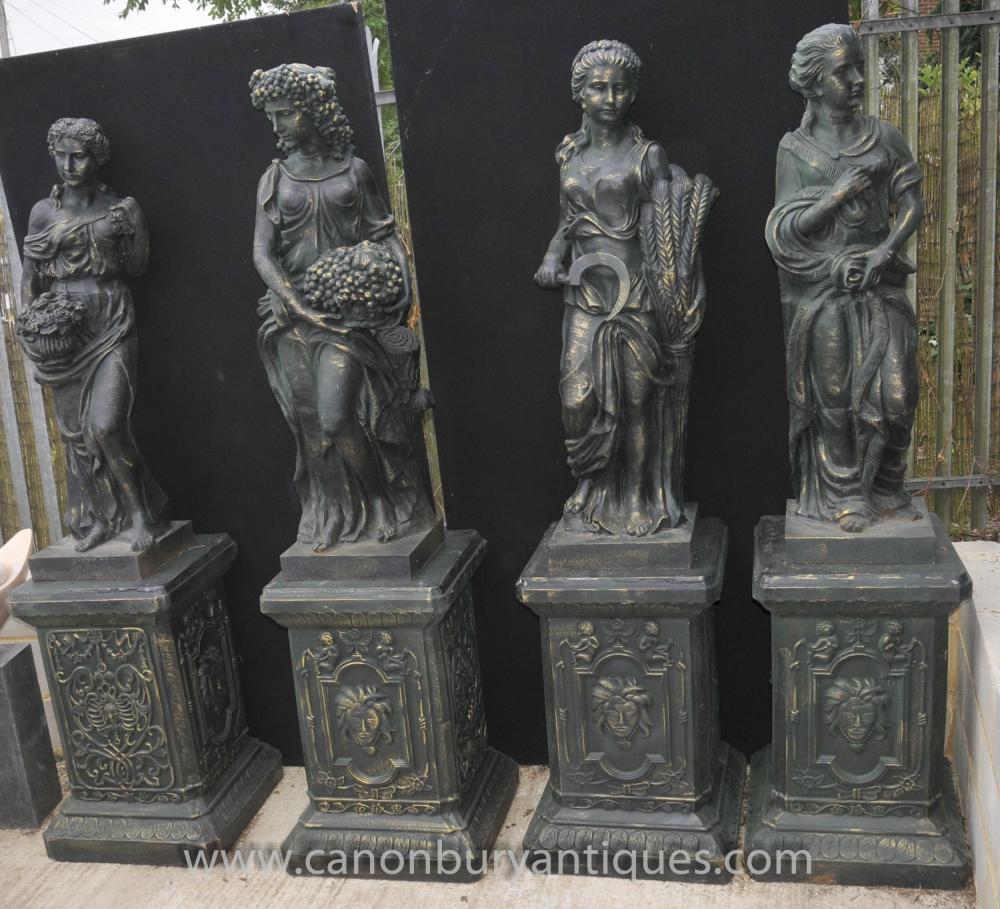 Set 4 XL Französisch Four Seasons Weiblich Maidens Statuen auf Sockeln
