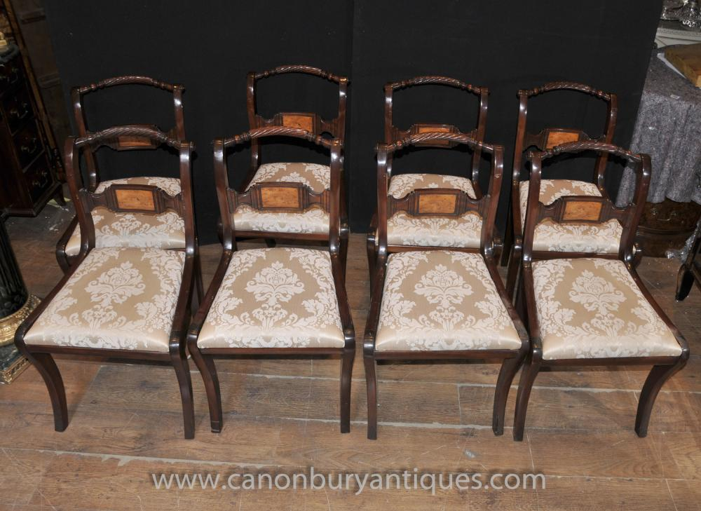 Set 8 Mahagoni Regency Dining Chairs Rope Backs
