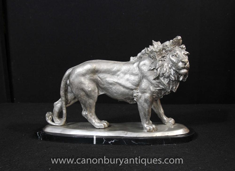 Silber Bronze Lion Statue Katzen Tiere Castings