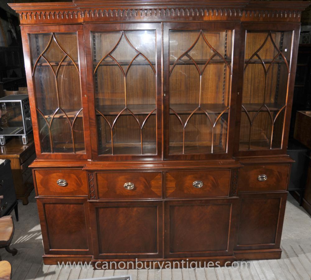 Victorian Breakfront Bücherregal mit Secretaire Schreibtisch Mahagoni Bücherregale