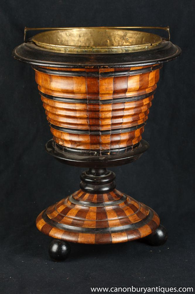 Victorian Eiskübel Topf Walnut Messing Innen Peat