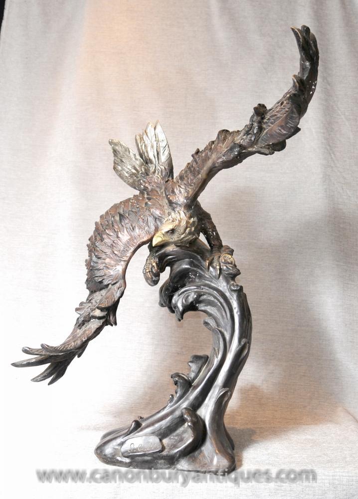 3 ft Bronze Adler Statue Unterzeichnung American Eagles Vogel Prey