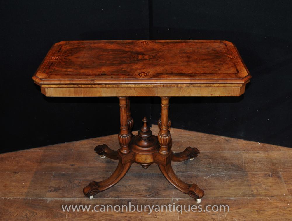 Antike viktorianische Kartenspiele Tabelle Walnut Side End Sofatische