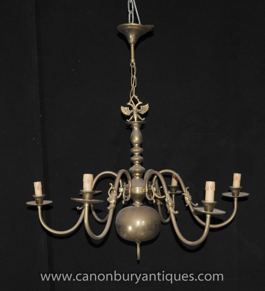 Antique Brass Dutch Kronleuchter Jugendstil-Licht-Lampe