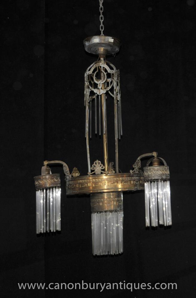 Antique Französisch Jugendstil-Kronleuchter Laterne Licht Messing Glas 1930