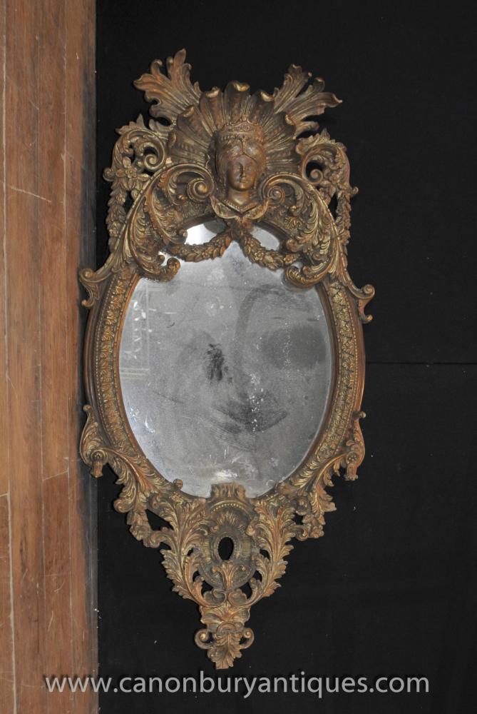 Antique Französisch Louis XVI aus vergoldetem Spiegel ovale geschnitzte Spiegel