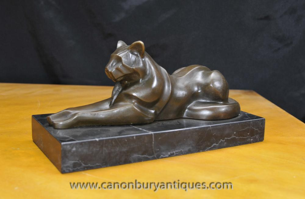 Art Deco Bronze Cat Panther Puma Statue von Milo Cubist Cheetah