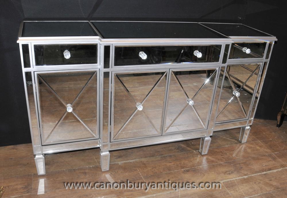 Art Deco Gespiegelte Breakfront Anrichte Server Buffet Spiegel Möbel