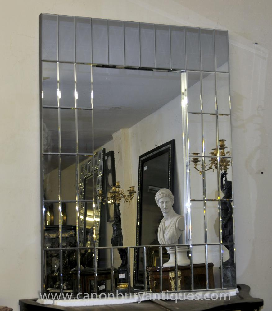 Art Deco Glass Pier Spiegel 1920er Mantel Spiegel