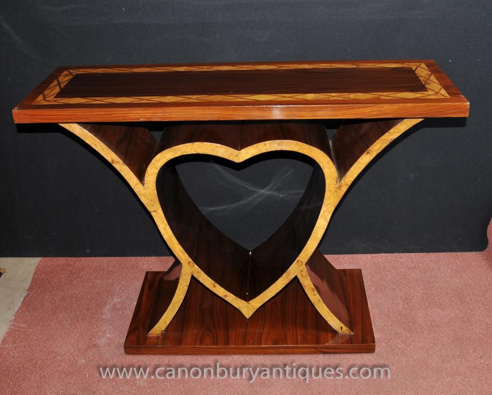 Art-Deco-Herz-Konsole Tabelle 1920er Vintage-Möbel