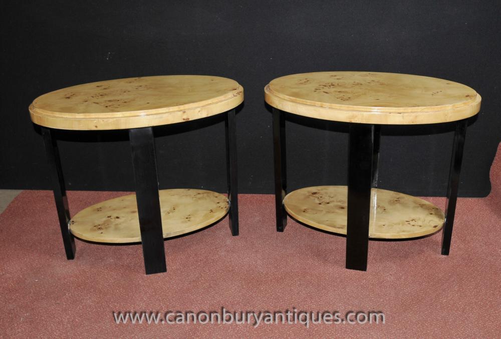 Art Deco Paar Beistelltische Cocktail Table Weinlese-