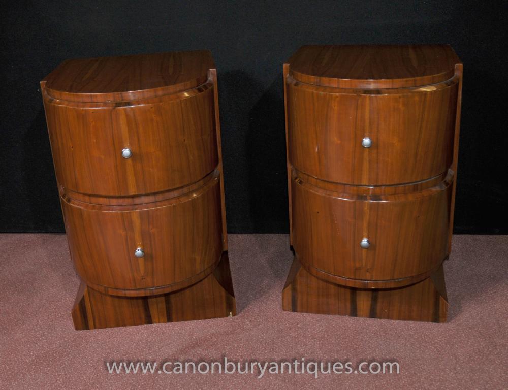 Art Deco Paar Nachttische Nachtschränke Tische 1920er Möbel