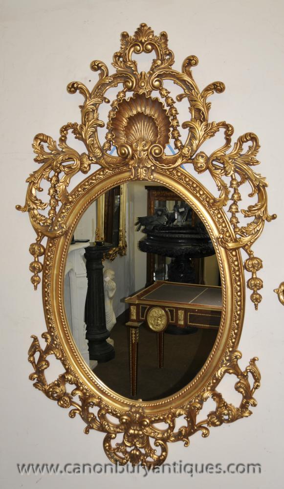 Big Französisch Rokoko Gilt Oval Pier Spiegel Spiegel Louis XVI