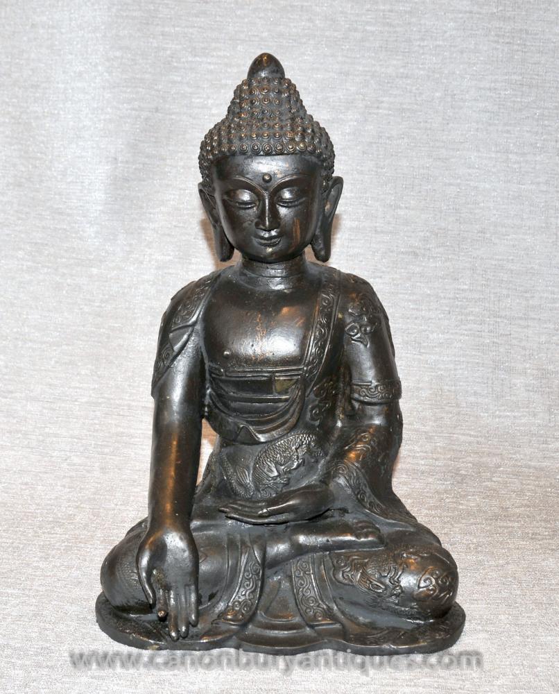 Bronze Tibetische Buddha-Statue Buddhistische Meditation Buddhistische Kunst Mudra