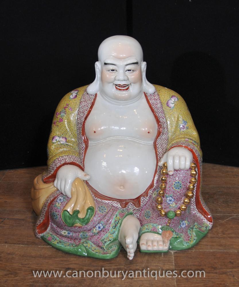 Chinesische Famille Rose Porzellan Buddha-Statue Glückliche Buddhas buddhistische