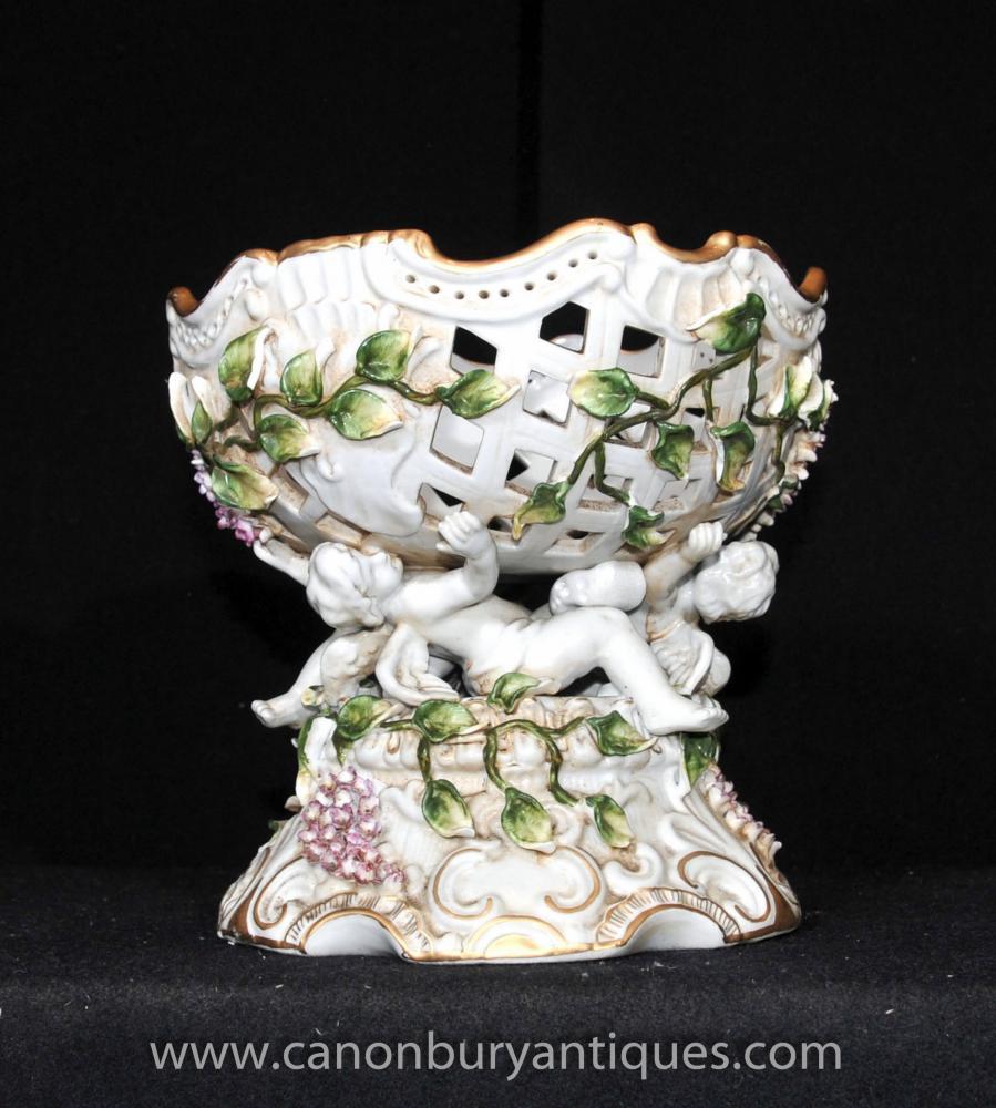 Dresden Porzellan Cherub Floral Bowl Comport Teller Terrine Verkrustete