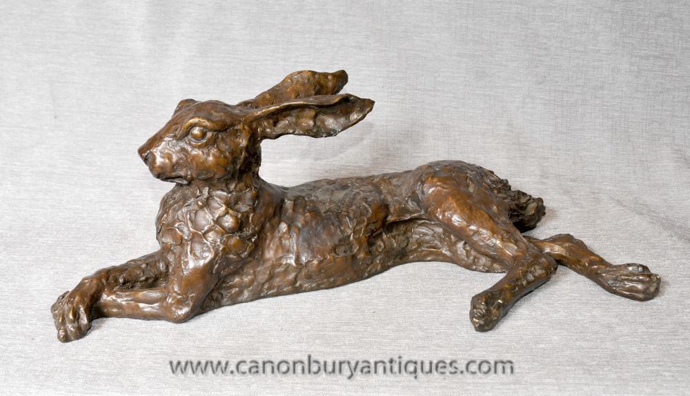 Englisch Bronze Hare Statue Casting Kaninchen Tiere