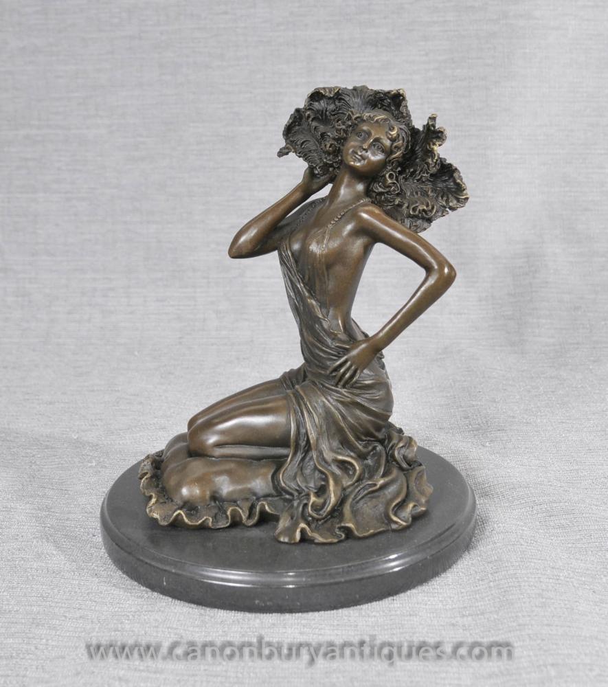 Französisch Art Deco Bronze Nude Female Figurine von Colinet