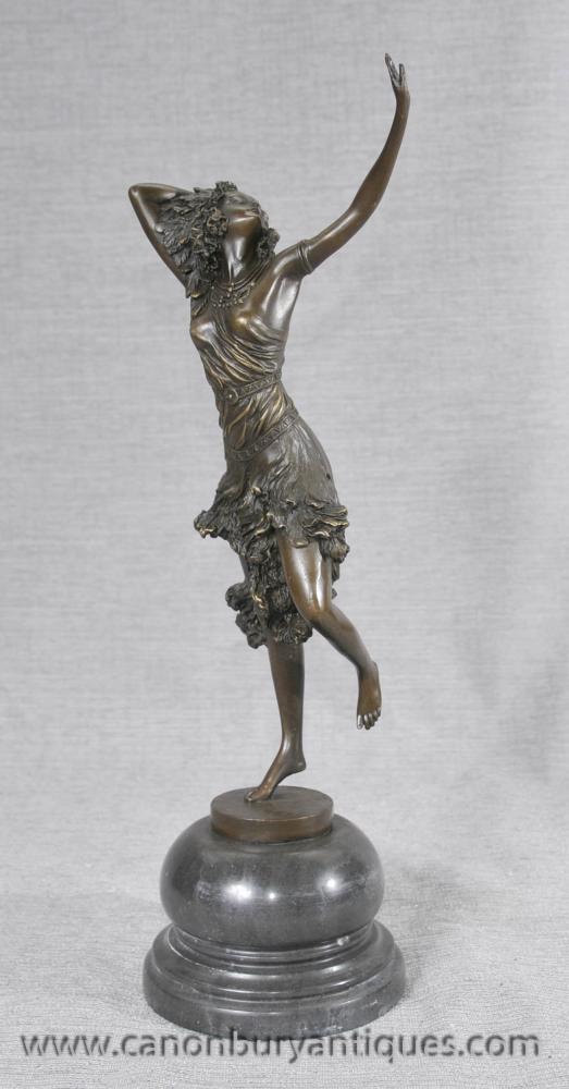 Französisch Art Deco Bronze Tänzerin von DH Chiparus Figurine
