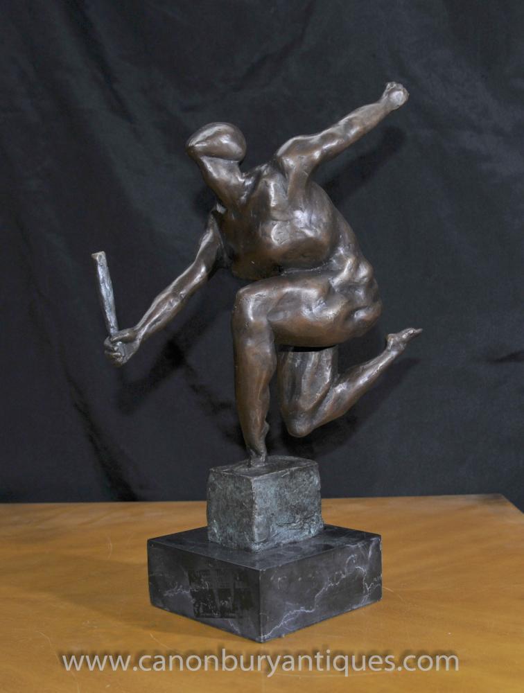 Französisch Bronze Absract Design Cubist-Statue-Figürchen