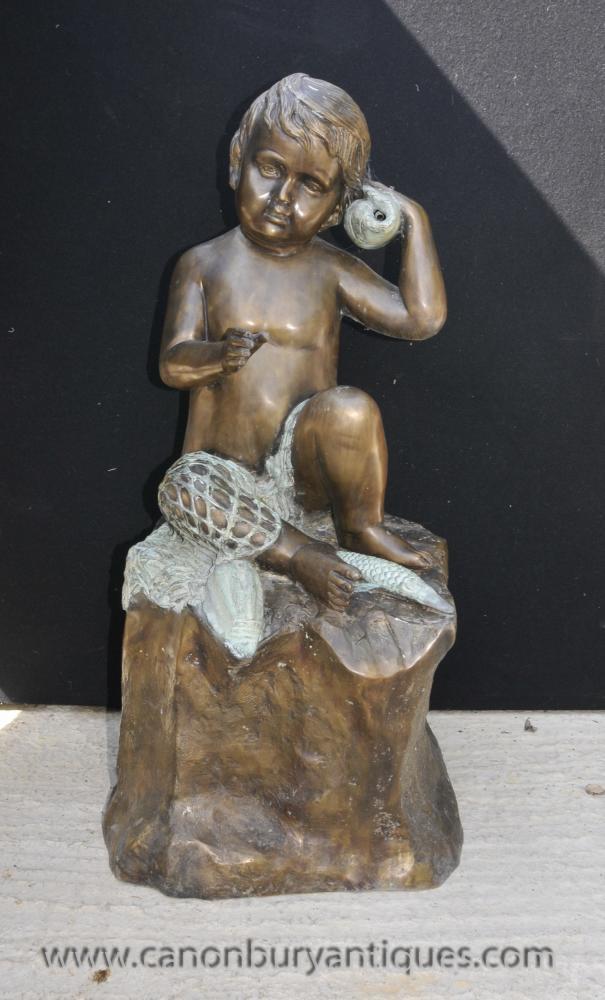 Französisch Bronze Cherub Brunnen Statue Conch Putti Cherubim