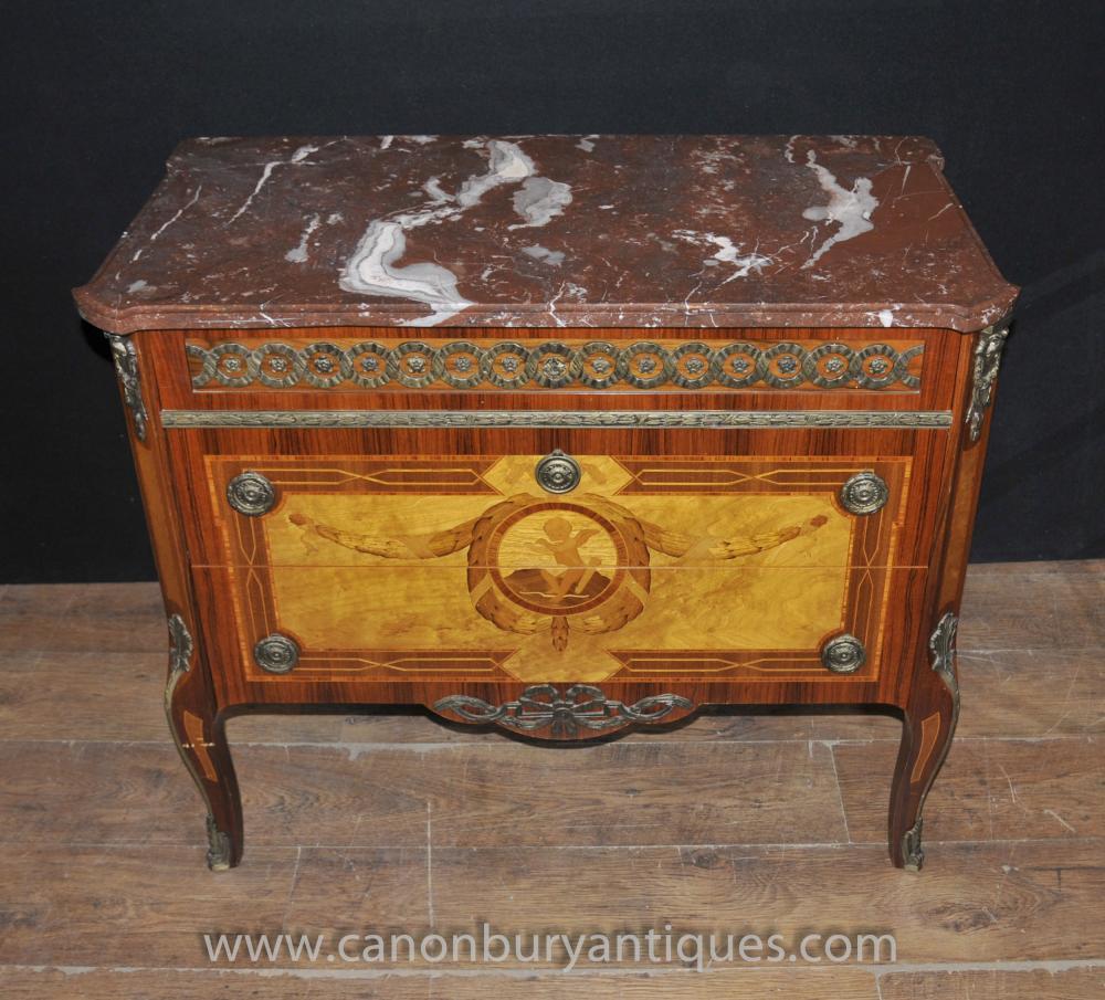 Französisch Kaiserreich Antiquität Kommode Kommode Schubladen Cherub Intarsien