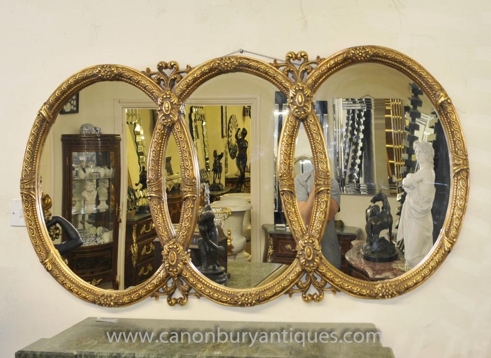 Französisch Louis XVI Dreibettzimmer Oval Gilt Spiegelglas Spiegel