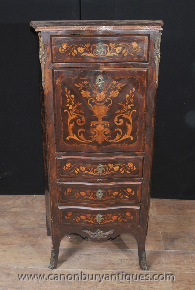 Französisch Louis XVI Secretaire Chest Schreibtisch Intarsien Möbel