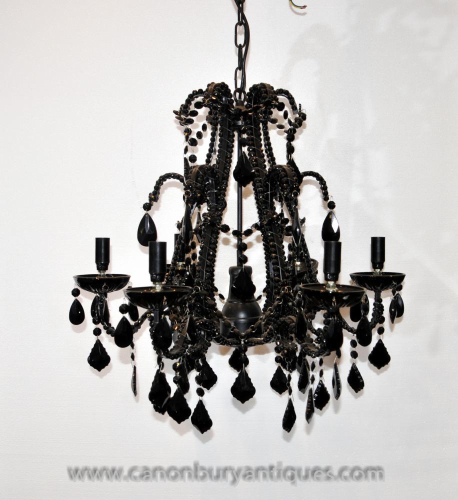 Französisch Reiches Schwarz-Kristallglas-Kronleuchter Licht