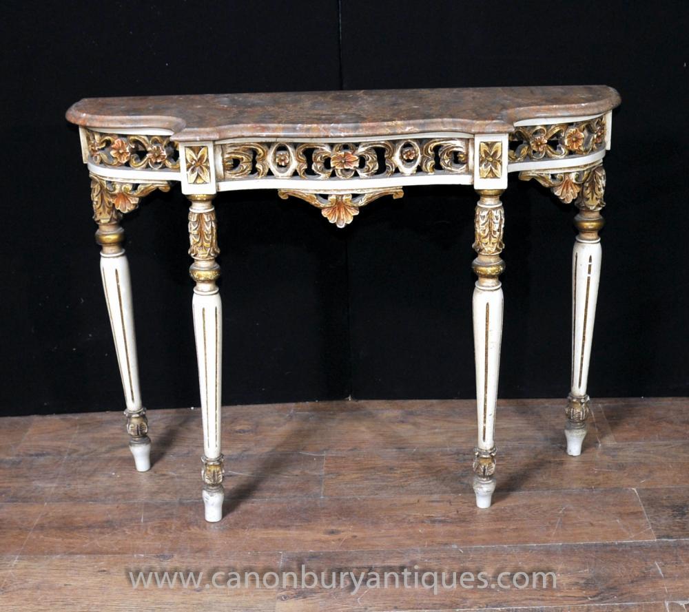 Italian Rococo Console Painted Hall-Tabelle Tabellen Möbel