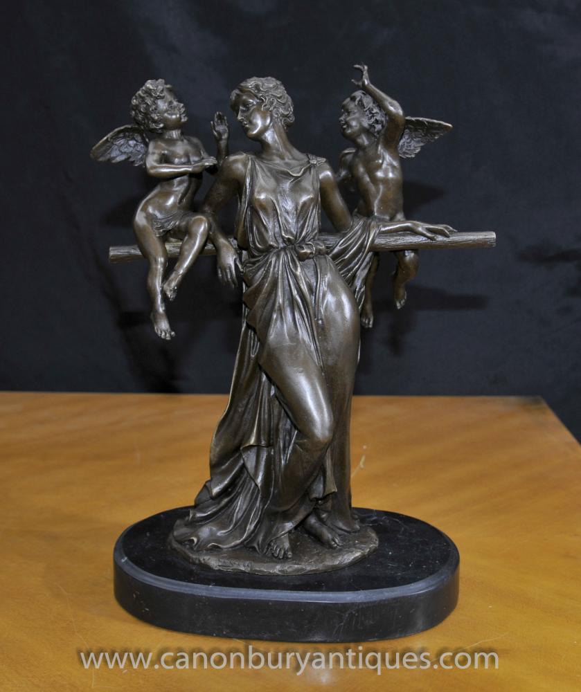 Italienisch Bronze Maiden und Engel-Statue Klassische Figurine Signiert