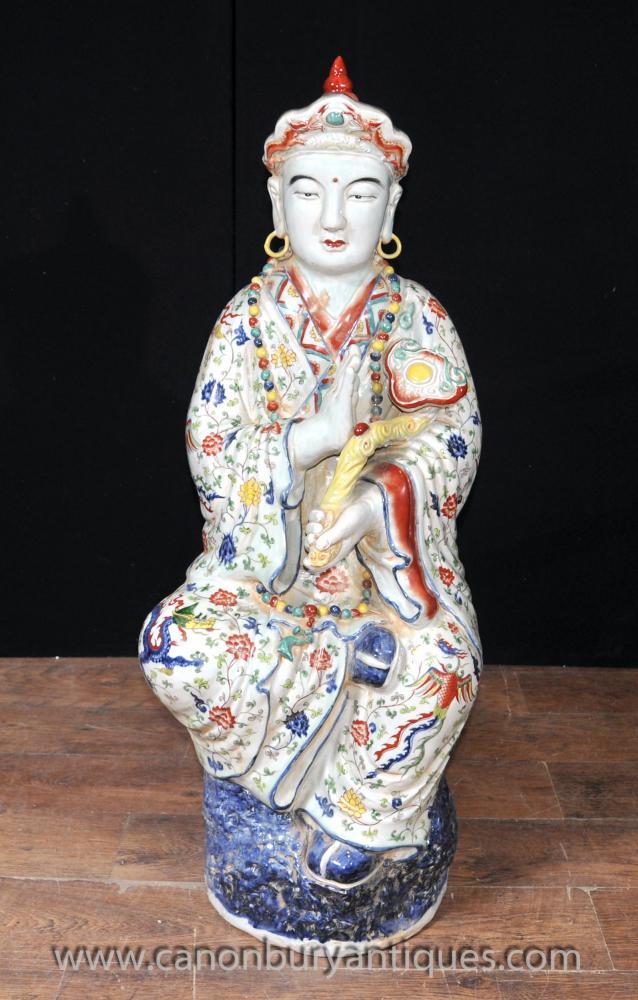 Japanische Satsuma Porzellan Buddha-Statue buddhistischen Wise Figurine Buddhismus