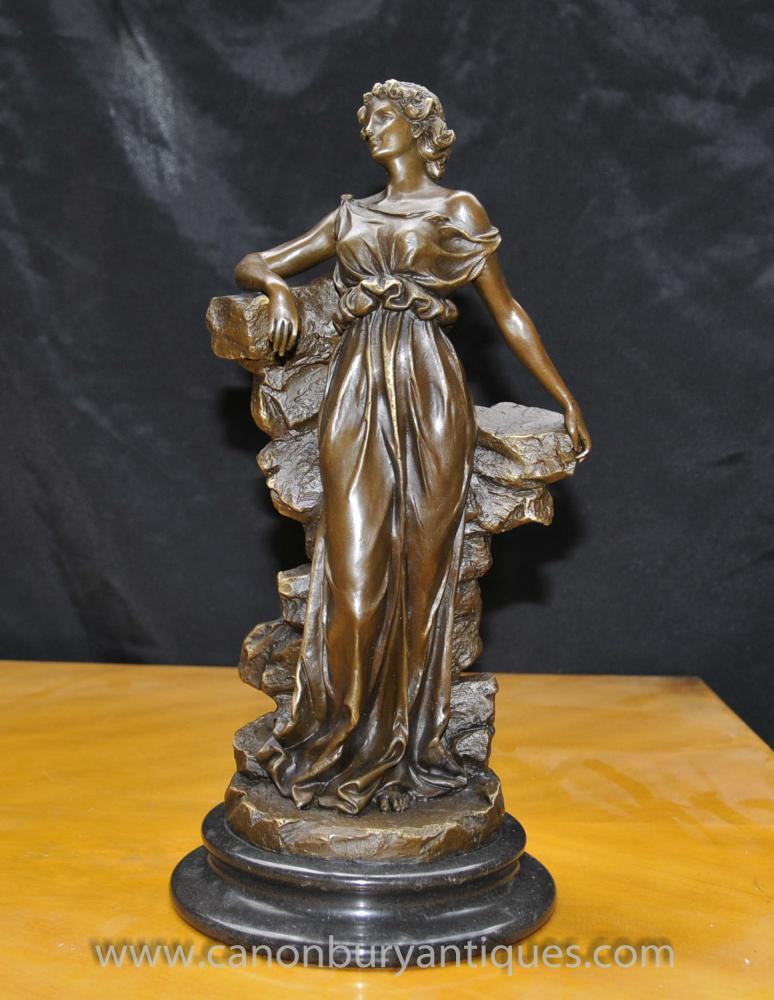 Klassische italienische Bronze Maiden Statue Signiert Preif Toga Figurine