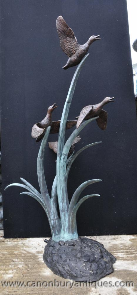 L Bronze Geese Brunnen Garten Gewässer Statue Ducks Birds