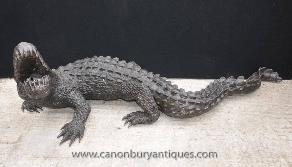 Lebensgroße Bronze Crocodile Alligator Croc 7ft