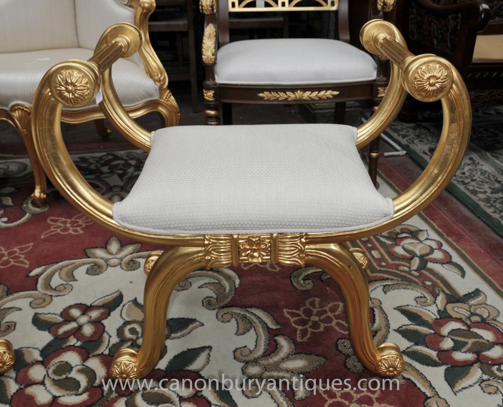 Louis XVI Gilt Hocker Sitz Französisch Möbel