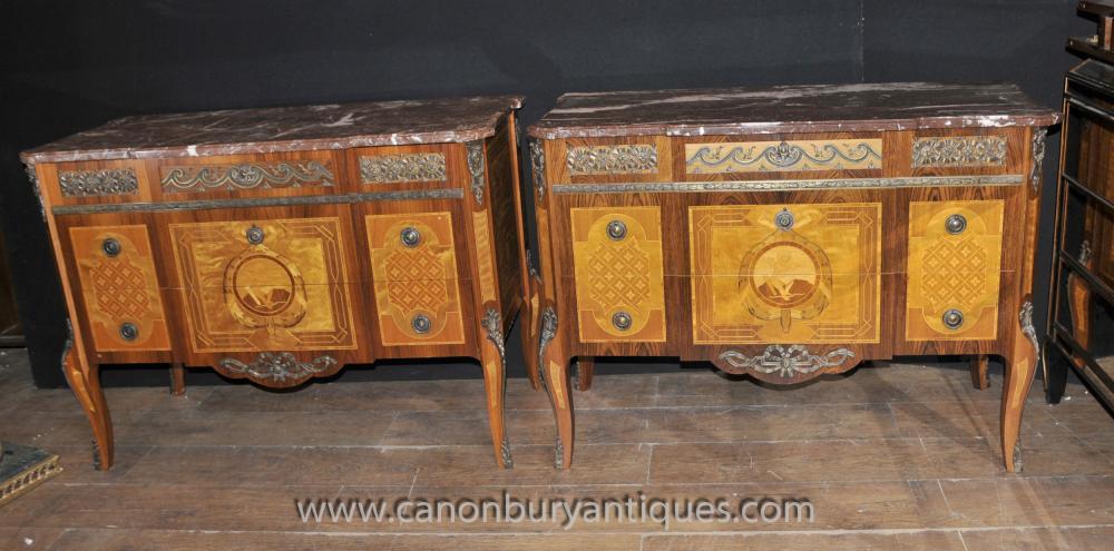 Paar Französisch Antique Louis Philippe Kommoden Kommoden Schubladen Reich Inlay Möbel