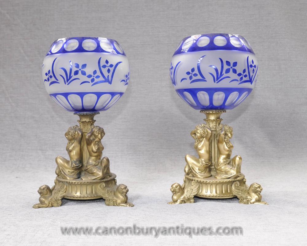 Paar Französisch Reich Ormolu Maiden Vasen Urnen Cut Glass Bowl Comport