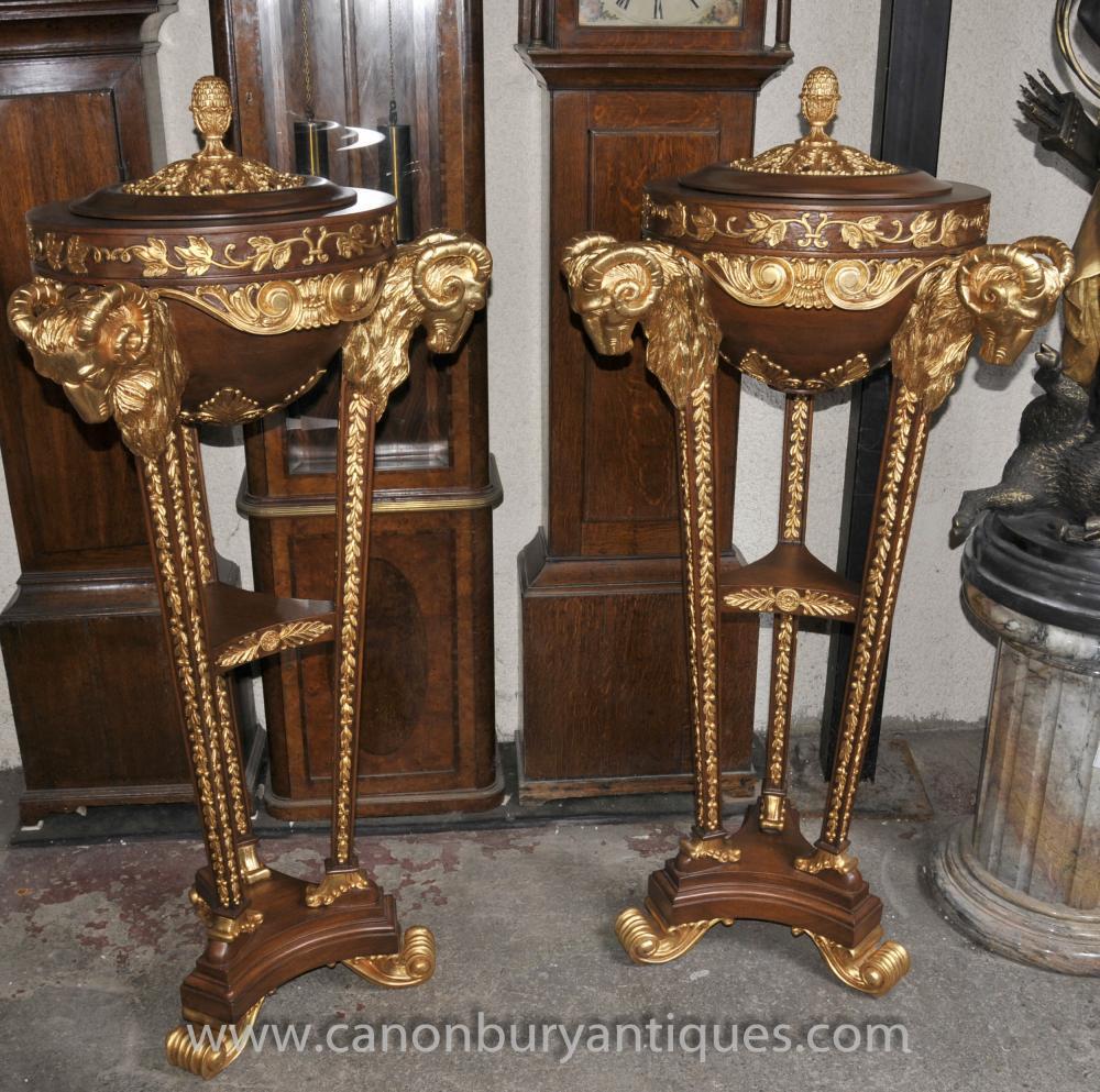 Paar Louis XVI Gilt Jardinières Ters Pedestal Stände Lidded Töpfe