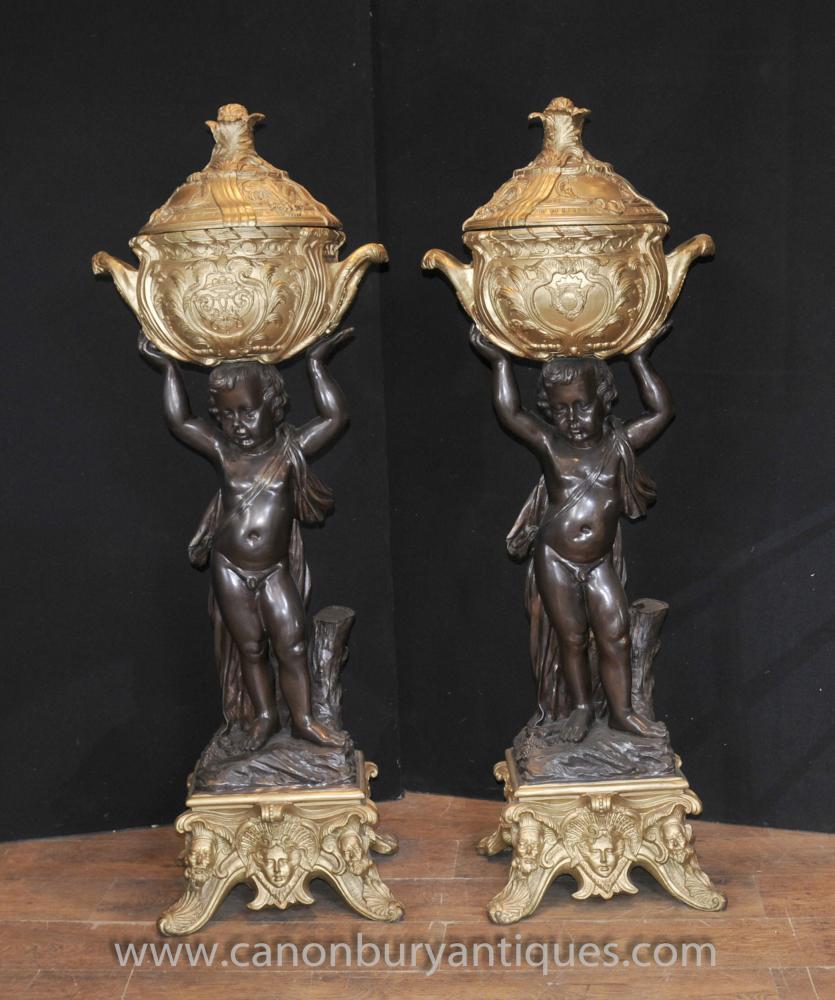 Pair Antique Französisch Bronze Cherub steht Ters Jardineres Pot Putti Statuen