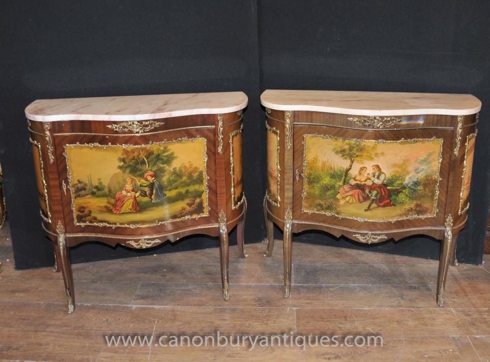 Pair Antique Französisch Vernis Martine Painted Kommoden Schränke Lack Kommoden