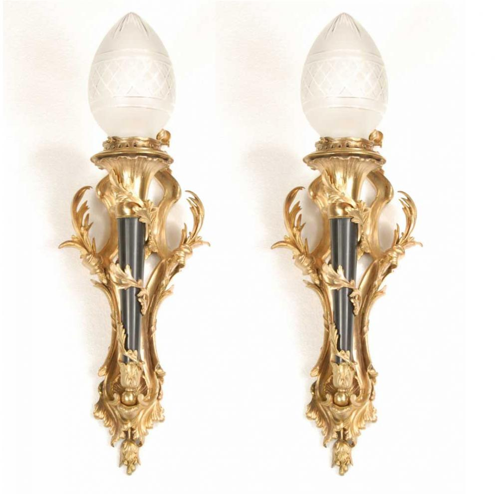 Pair Victorian Ormolu Torch Lampen