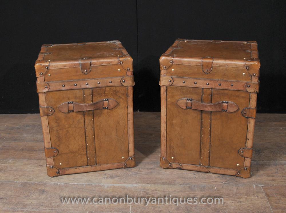Pair Weinlese-Dampfer-Stamm Taschen Boxen Beistelltische Englisch Leder Trunks